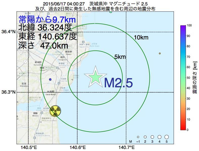 地震震源マップ:常陽から9.7km地点でM2.5の地震が発生しました