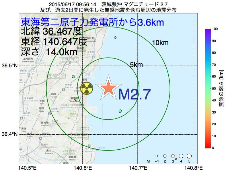 地震震源マップ:東海第二原子力発電所から3.6km地点でM2.7の地震が発生しました