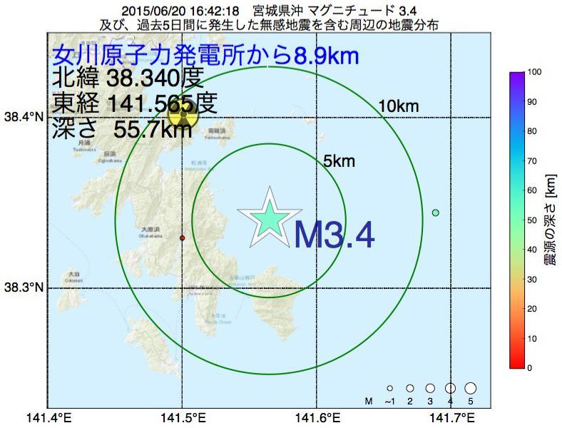 地震震源マップ:女川原子力発電所から8.9km地点でM3.4の地震が発生しました