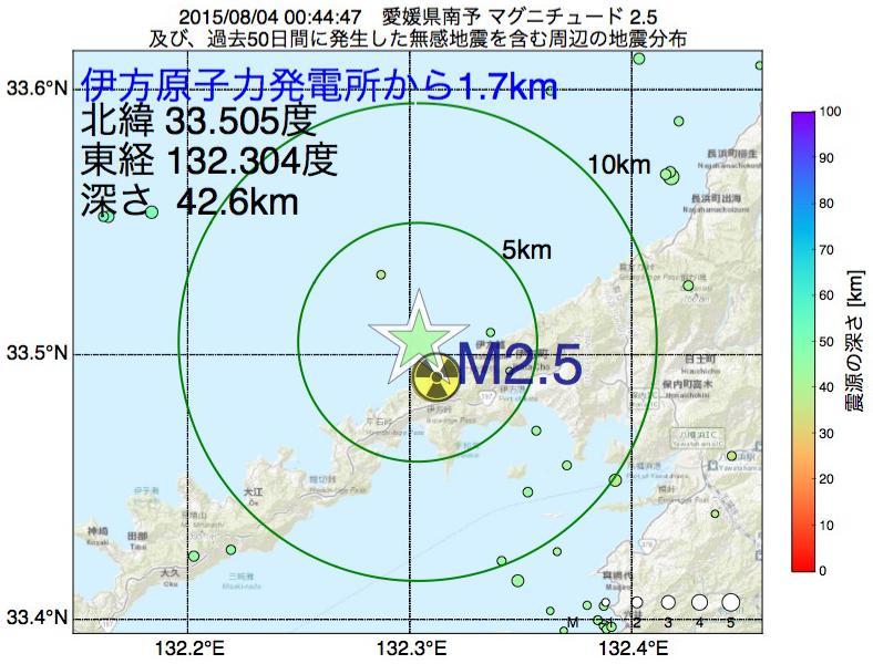 地震震源マップ:伊方原子力発電所から1.7km地点でM2.5の地震が発生しました