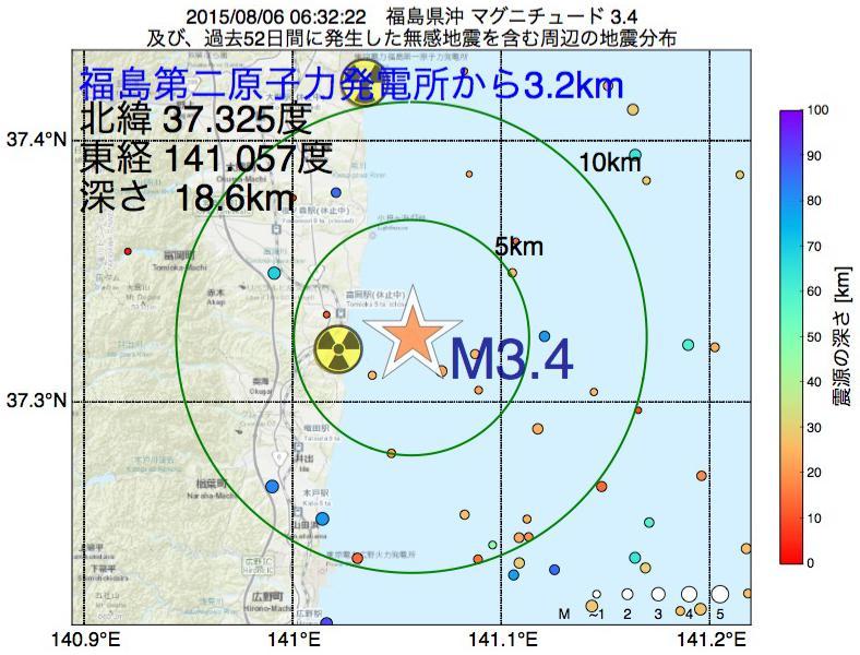 地震震源マップ:福島第二原子力発電所から3.2km地点でM3.4の地震が発生しました