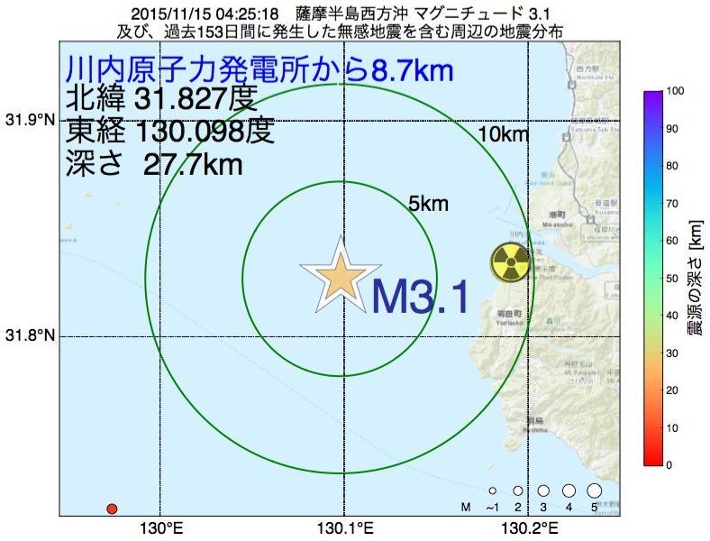 地震震源マップ:川内原子力発電所から8.7km地点でM3.1の地震が発生しました