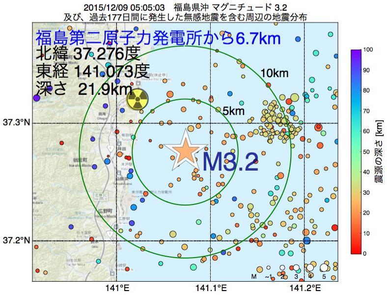 地震震源マップ:福島第二原子力発電所から6.7km地点でM3.2の地震が発生しました