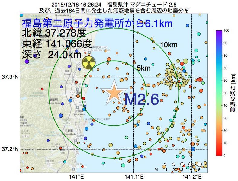 地震震源マップ:福島第二原子力発電所から6.1km地点でM2.6の地震が発生しました