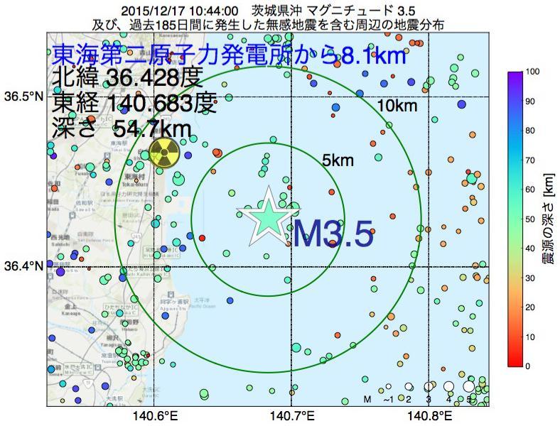 地震震源マップ:東海第二原子力発電所から8.1km地点でM3.5の地震が発生しました