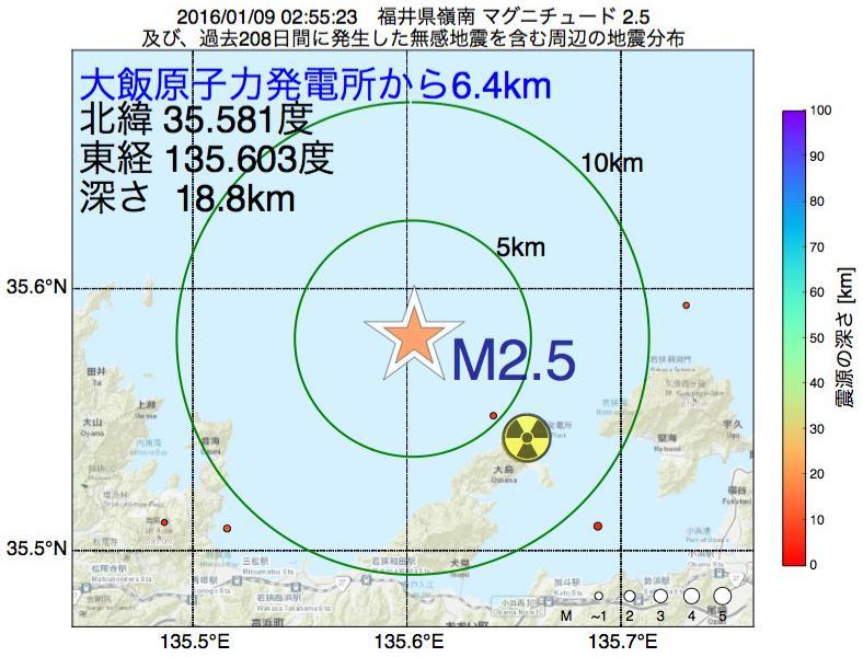 地震震源マップ:大飯原子力発電所から6.4km地点でM2.5の地震が発生しました