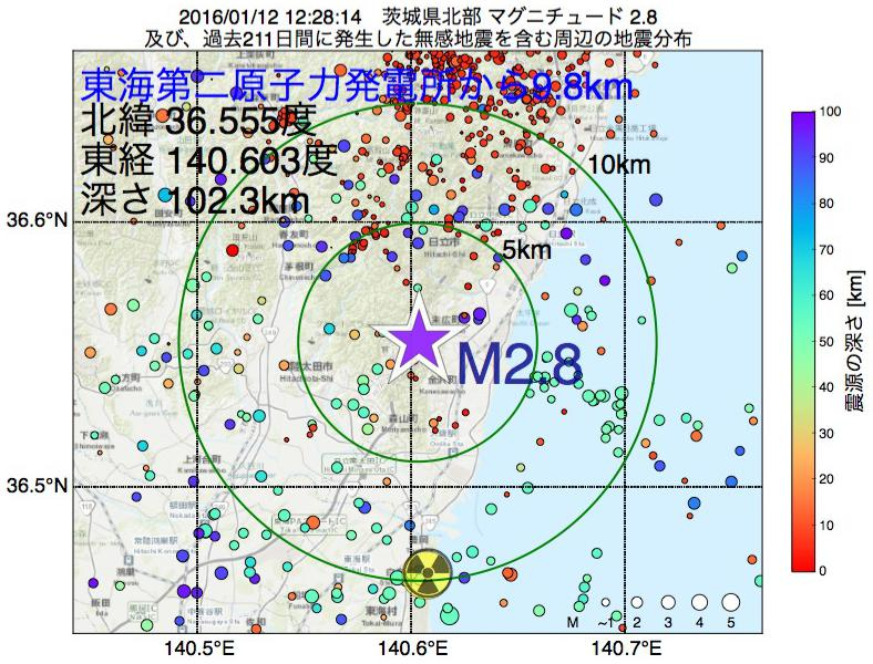 地震震源マップ:東海第二原子力発電所から9.8km地点でM2.8の地震が発生しました