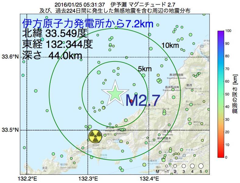 地震震源マップ:伊方原子力発電所から7.2km地点でM2.7の地震が発生しました