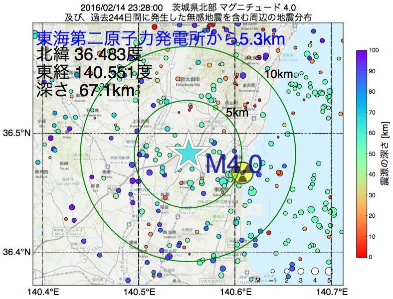 地震震源マップ:東海第二原子力発電所から5.3km地点でM4.0の地震が発生しました