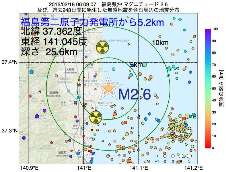 地震震源マップ:福島第二原子力発電所から5.2km地点でM2.6の地震が発生しました