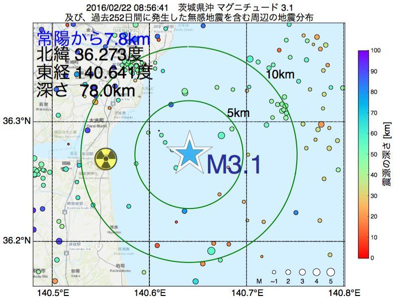 地震震源マップ:常陽から7.8km地点でM3.1の地震が発生しました