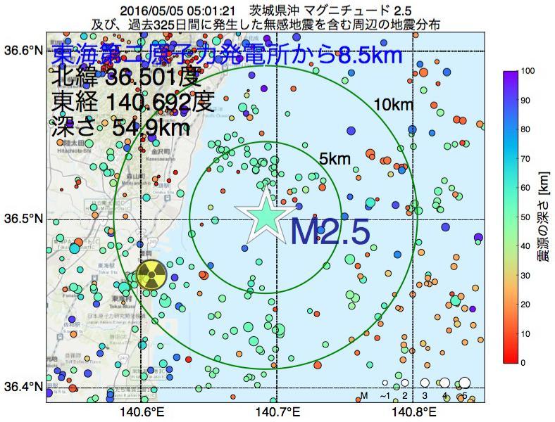 地震震源マップ:東海第二原子力発電所から8.5km地点でM2.5の地震が発生しました