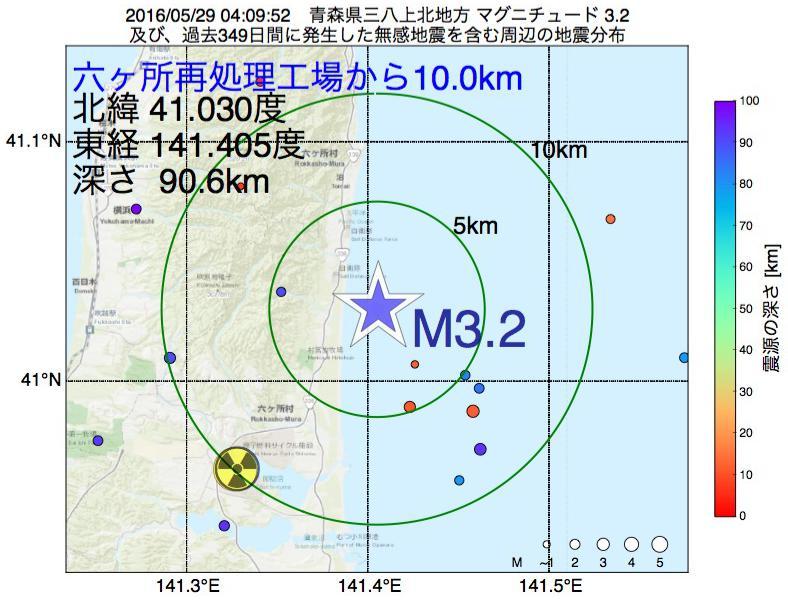 地震震源マップ:六ヶ所再処理工場から10.0km地点でM3.2の地震が発生しました