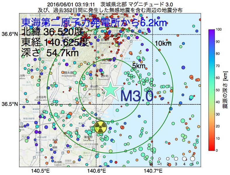 地震震源マップ:東海第二原子力発電所から6.2km地点でM3.0の地震が発生しました