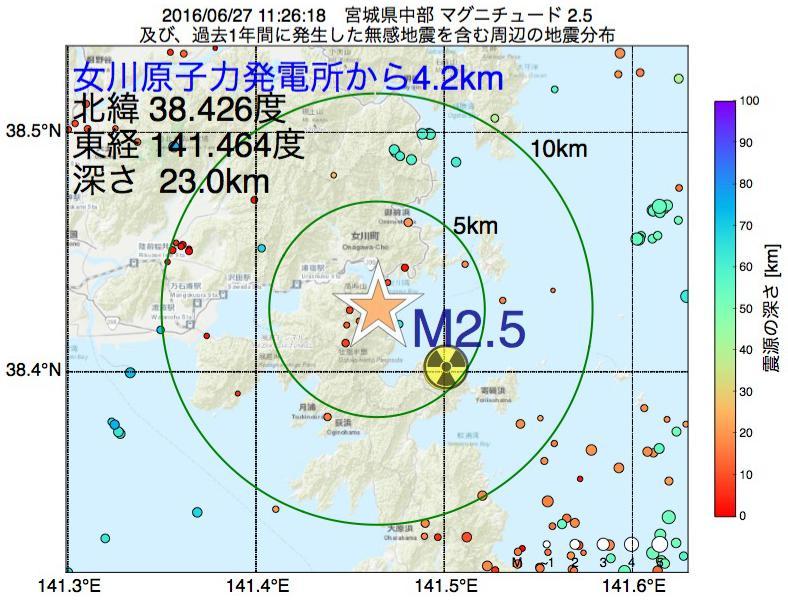 地震震源マップ:女川原子力発電所から4.2km地点でM2.5の地震が発生しました