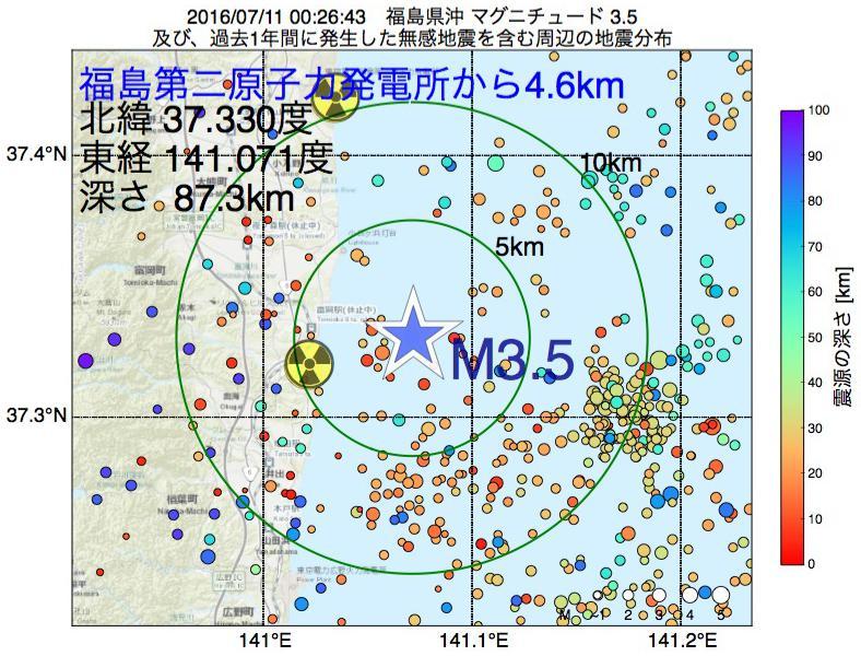 地震震源マップ:福島第二原子力発電所から4.6km地点でM3.5の地震が発生しました