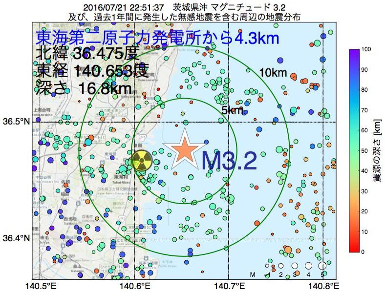 地震震源マップ:東海第二原子力発電所から4.3km地点でM3.2の地震が発生しました
