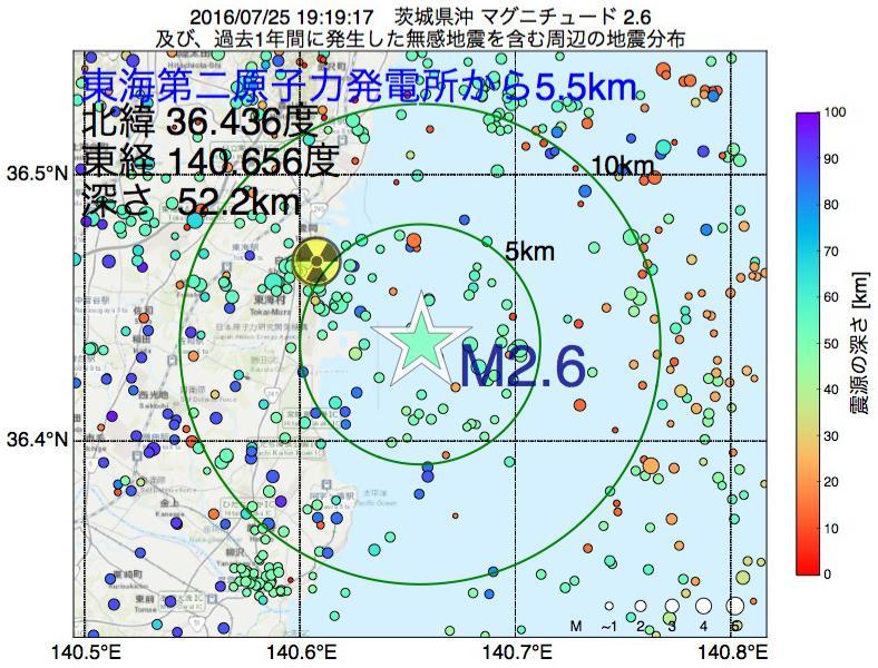 地震震源マップ:東海第二原子力発電所から5.5km地点でM2.6の地震が発生しました