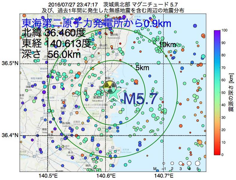 地震震源マップ:東海第二原子力発電所から0.9km地点でM5.7の地震が発生しました
