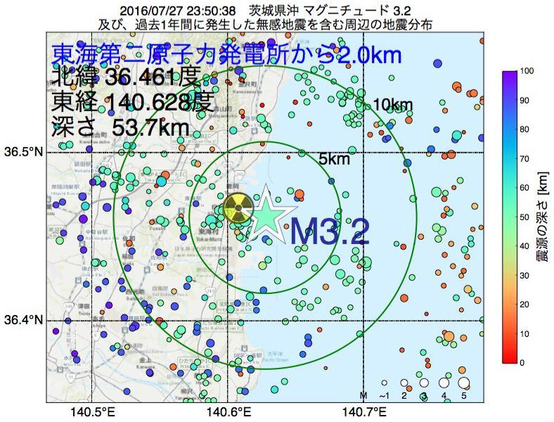 地震震源マップ:東海第二原子力発電所から2.0km地点でM3.2の地震が発生しました