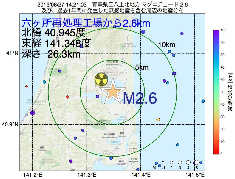 地震震源マップ:六ヶ所再処理工場から2.6km地点でM2.6の地震が発生しました