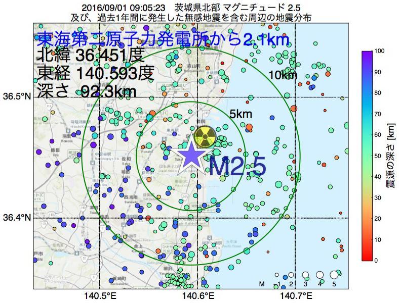 地震震源マップ:東海第二原子力発電所から2.1km地点でM2.5の地震が発生しました