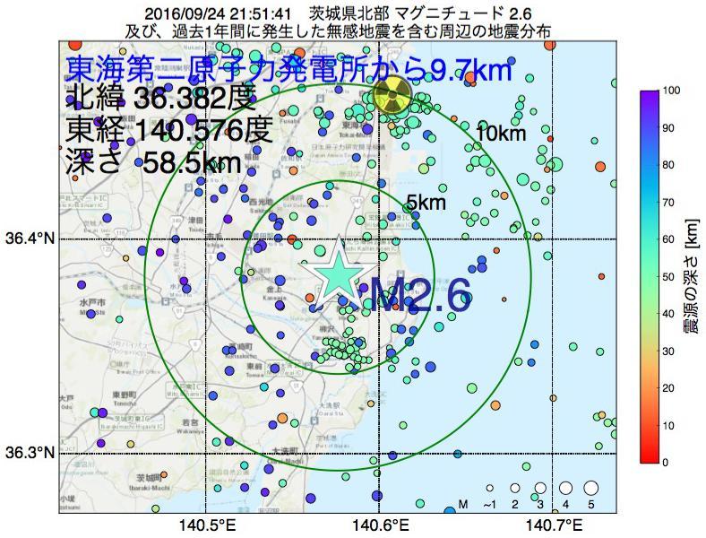 地震震源マップ:東海第二原子力発電所から9.7km地点でM2.6の地震が発生しました