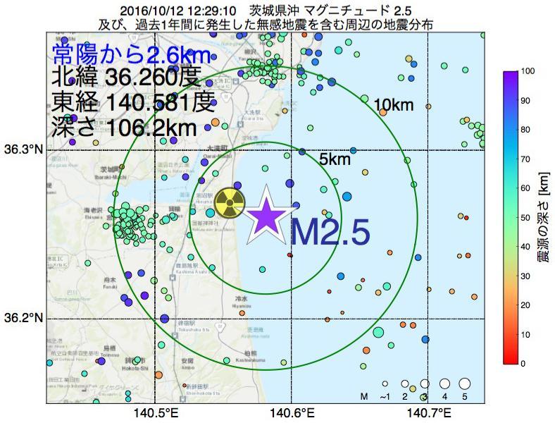 地震震源マップ:常陽から2.6km地点でM2.5の地震が発生しました