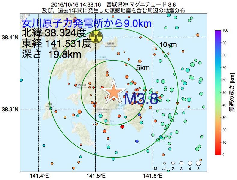 地震震源マップ:女川原子力発電所から9.0km地点でM3.8の地震が発生しました