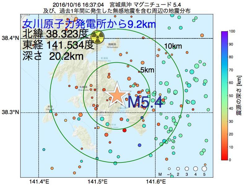 地震震源マップ:女川原子力発電所から9.2km地点でM5.4の地震が発生しました