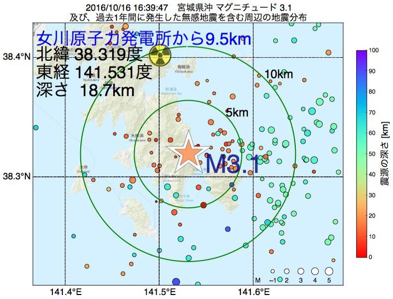地震震源マップ:女川原子力発電所から9.5km地点でM3.1の地震が発生しました