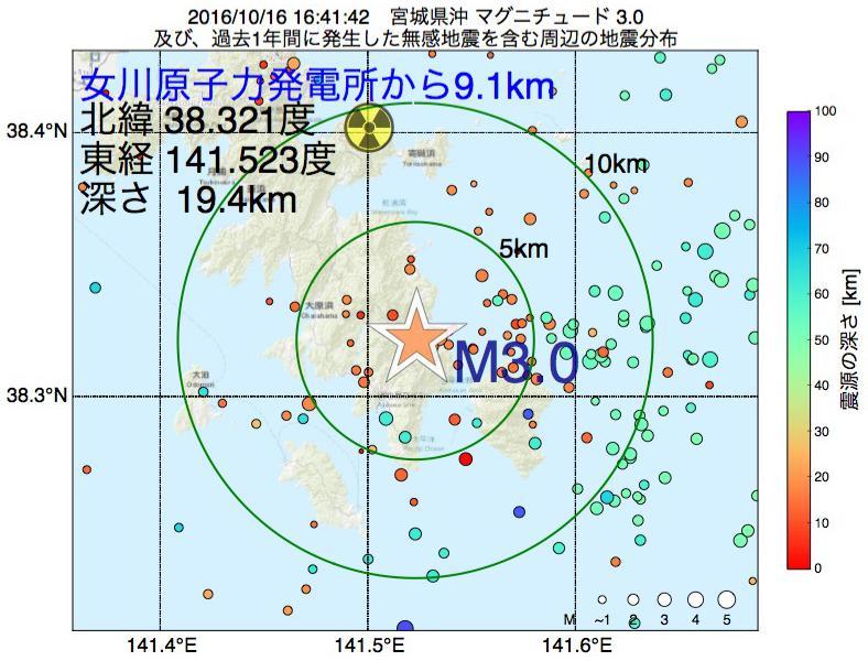 地震震源マップ:女川原子力発電所から9.1km地点でM3.0の地震が発生しました