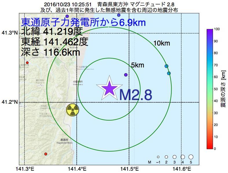 地震震源マップ:東通原子力発電所から6.9km地点でM2.8の地震が発生しました