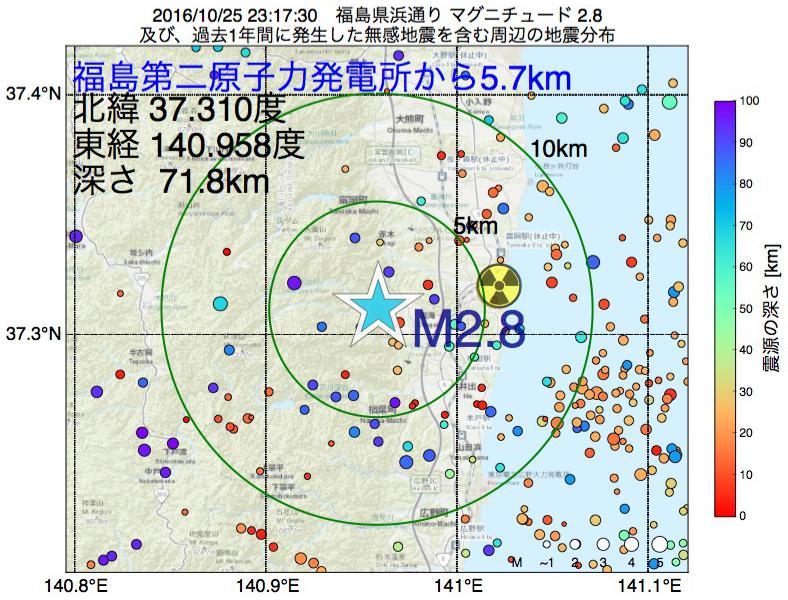 地震震源マップ:福島第二原子力発電所から5.7km地点でM2.8の地震が発生しました