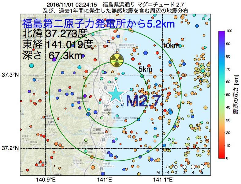 地震震源マップ:福島第二原子力発電所から5.2km地点でM2.7の地震が発生しました