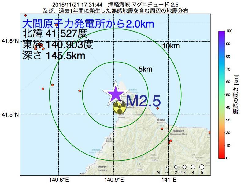 地震震源マップ:大間原子力発電所から2.0km地点でM2.5の地震が発生しました