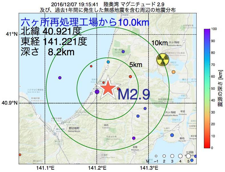 地震震源マップ:六ヶ所再処理工場から10.0km地点でM2.9の地震が発生しました