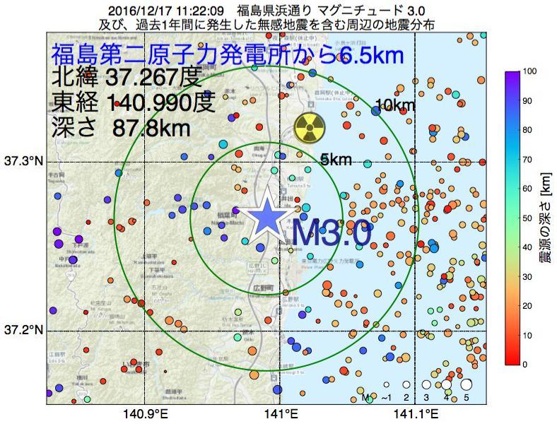 地震震源マップ:福島第二原子力発電所から6.5km地点でM3.0の地震が発生しました