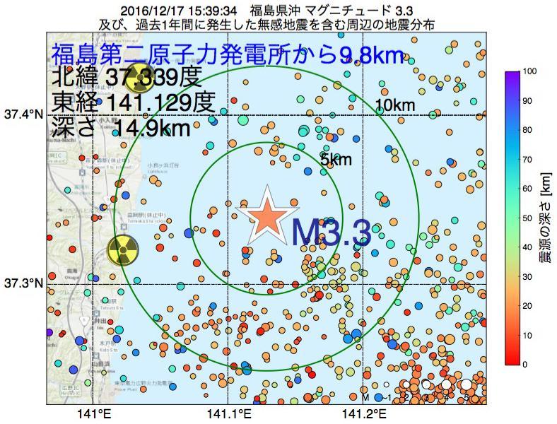 地震震源マップ:福島第二原子力発電所から9.8km地点でM3.3の地震が発生しました
