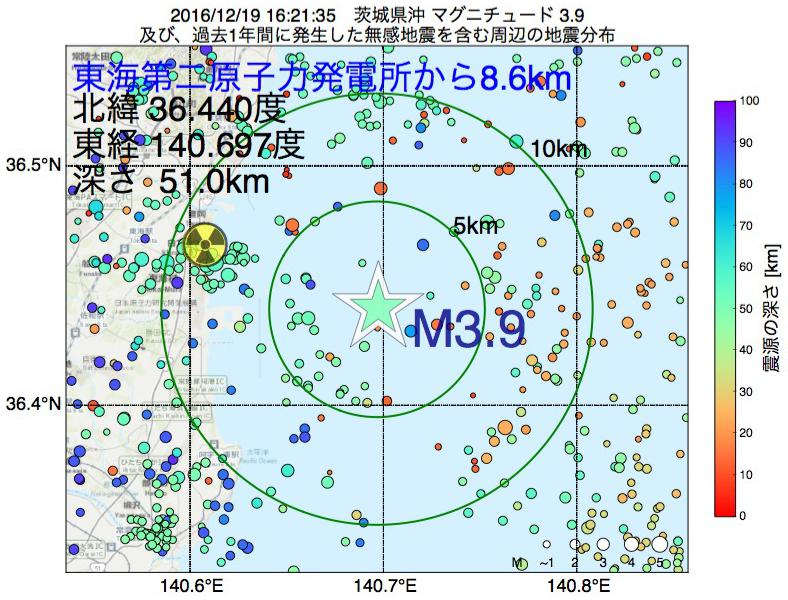 地震震源マップ:東海第二原子力発電所から8.6km地点でM3.9の地震が発生しました