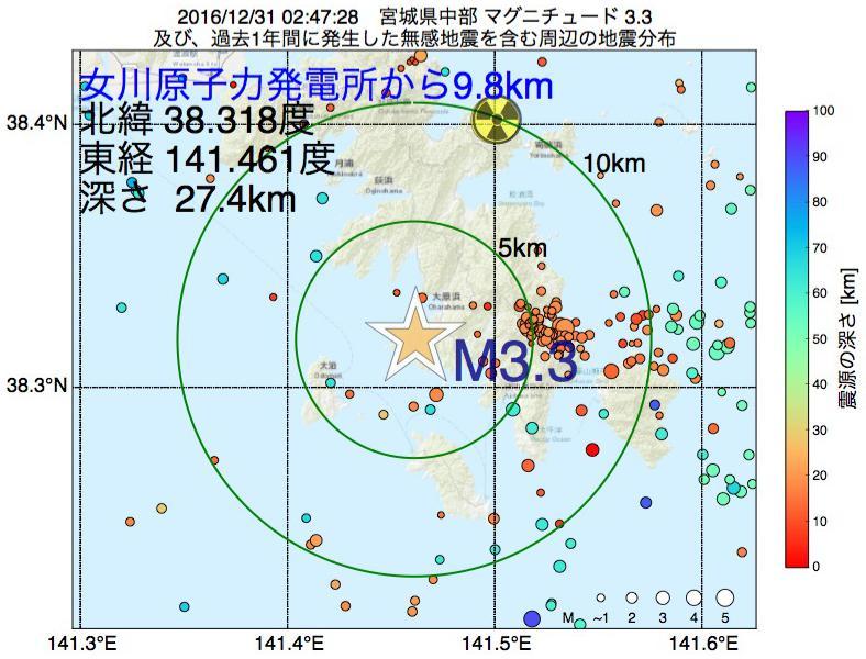 地震震源マップ:女川原子力発電所から9.8km地点でM3.3の地震が発生しました
