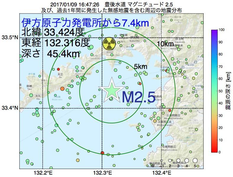 地震震源マップ:伊方原子力発電所から7.4km地点でM2.5の地震が発生しました