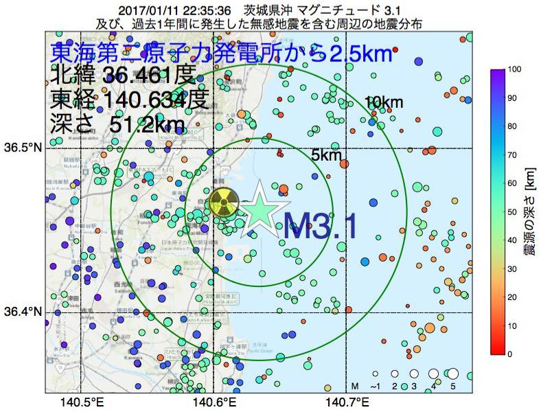 地震震源マップ:東海第二原子力発電所から2.5km地点でM3.1の地震が発生しました