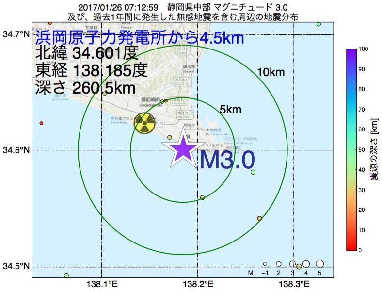 地震震源マップ:浜岡原子力発電所から4.5km地点でM3.0の地震が発生しました