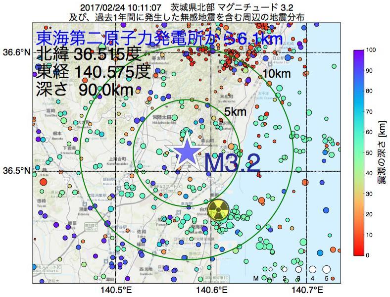 地震震源マップ:東海第二原子力発電所から6.1km地点でM3.2の地震が発生しました