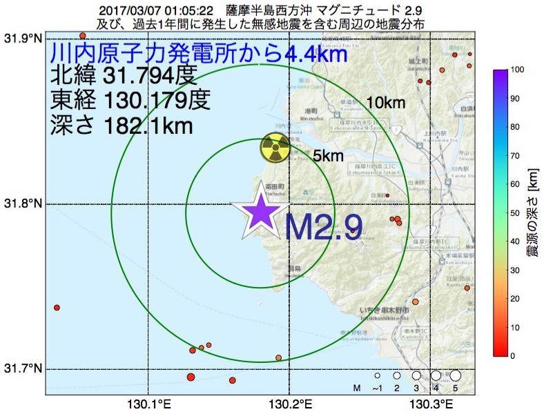 地震震源マップ:川内原子力発電所から4.4km地点でM2.9の地震が発生しました