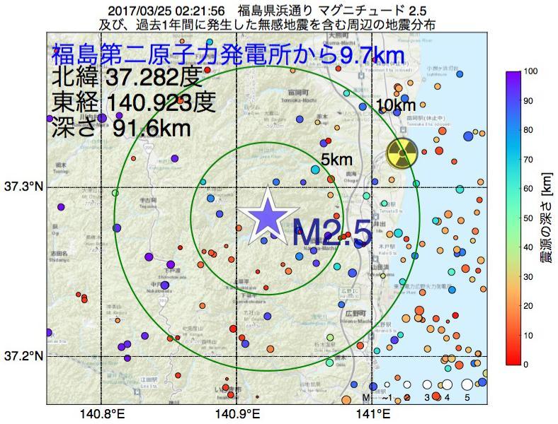 地震震源マップ:福島第二原子力発電所から9.7km地点でM2.5の地震が発生しました
