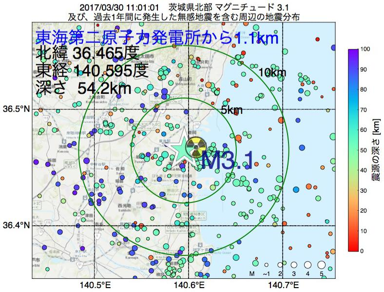 地震震源マップ:東海第二原子力発電所から1.1km地点でM3.1の地震が発生しました