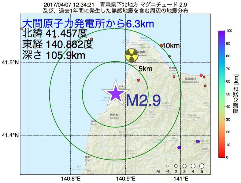 地震震源マップ:大間原子力発電所から6.3km地点でM2.9の地震が発生しました