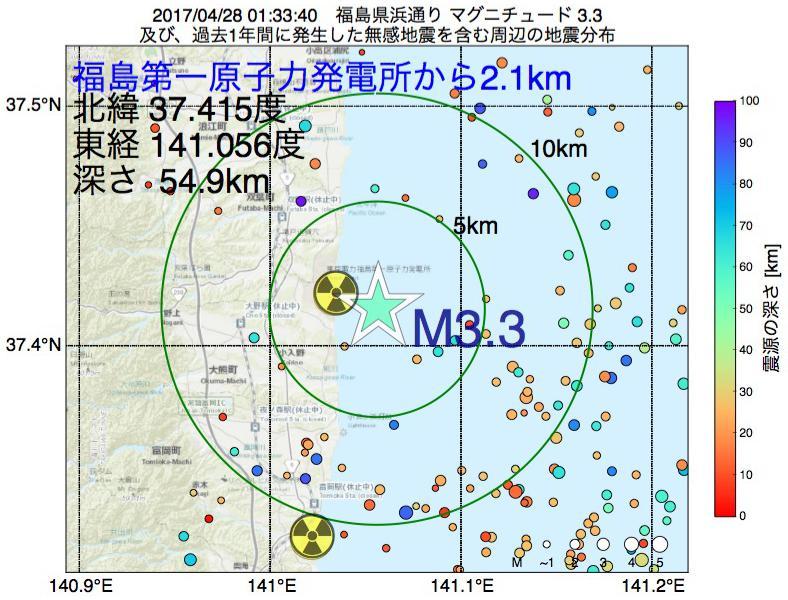 地震震源マップ:福島第一原子力発電所から2.1km地点でM3.3の地震が発生しました